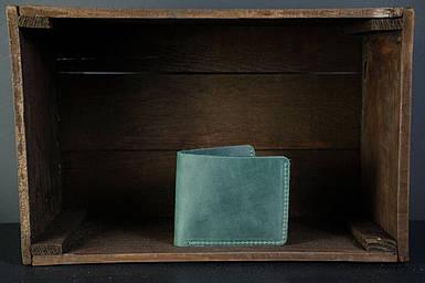 Мужской кожаный кошелек Компакт, натуральная винтажная кожа, цвет Зеленый