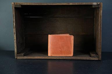 Мужской кожаный кошелек Компакт, натуральная винтажная кожа, цвет коричневый, оттенок Коньяк
