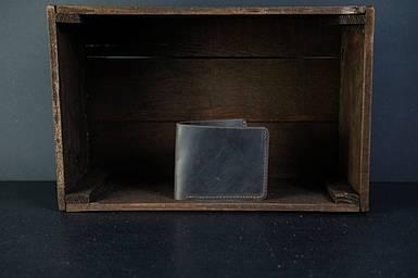 Мужской кожаный кошелек Компакт, натуральная винтажная кожа, цвет коричневый, оттенок Шоколад