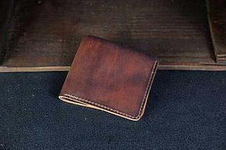 Чоловічий шкіряний гаманець Компакт, натуральна італійська шкіра Краст, колір коричневий, відтінок Вишня, фото 2