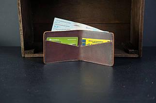 Чоловічий шкіряний гаманець Компакт, натуральна італійська шкіра Краст, колір коричневий, відтінок Вишня, фото 3