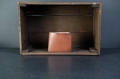 Мужской кожаный кошелек Компакт, натуральная кожа итальянский Краст, цвет Коричневый