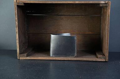 Мужской кожаный кошелек Компакт, натуральная кожа итальянский Краст, цвет коричневый оттенок Кофе