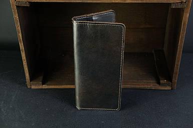 Мужской кожаный кошелек Лонг на 8 карт, натуральная кожа итальянский Краст, цвет коричневый оттенок Кофе