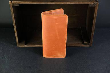 Мужской кожаный кошелек Лонг на 8 карт, натуральная винтажная кожа, цвет коричневый, оттенок Коньяк