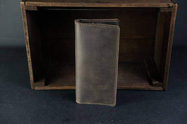 Мужской кожаный кошелек Лонг на 8 карт, натуральная винтажная кожа, цвет коричневый, оттенок Шоколад