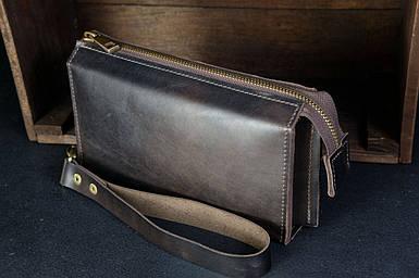 Чоловічий шкіряний гаманець Тревел, з ремінцем, натуральна італійська шкіра Краст, колір коричневий, відтінок Кава
