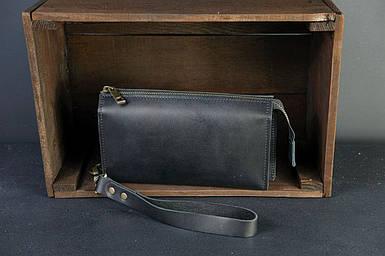 Чоловічий шкіряний гаманець Тревел, з ремінцем, натуральна італійська шкіра Краст, колір чорний