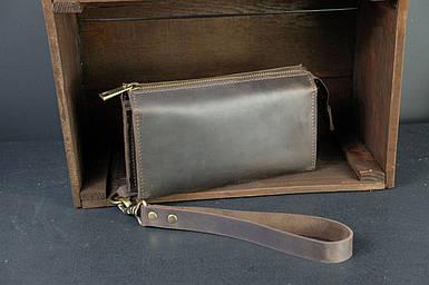 Чоловічий шкіряний гаманець Тревел, з ремінцем, натуральна вінтажна шкіра, колір коричневый, оттенок Шоколад