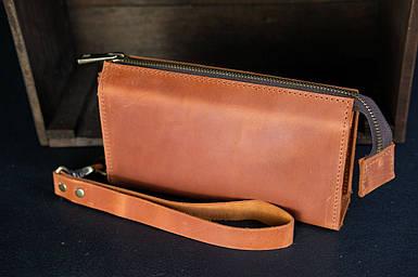 Чоловічий шкіряний гаманець Тревел, з ремінцем натуральна вінтажна шкіра, колір коричневый, оттенок Коньяк