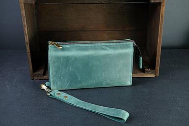 Чоловічий шкіряний гаманець Тревел, з ремінцем, натуральна вінтажна шкіра, колір зелений