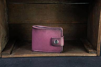 Чоловіче шкіряне портмоне з монетницею з застібкою, натуральна італійська шкіра Краст, колір Бордо