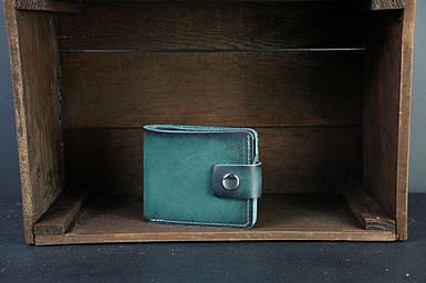 Чоловіче шкіряне портмоне з монетницею з застібкою, натуральна італійська шкіра Краст, колір Зелений