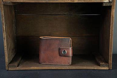 Чоловіче шкіряне портмоне з монетницею з застібкою, натуральна італійська шкіра Краст, колір коричневий, відтінок Вишня
