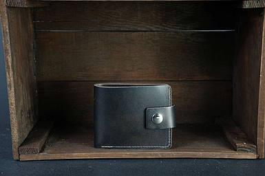 Чоловіче шкіряне портмоне з монетницею з застібкою, натуральна італійська шкіра Краст, колір кави