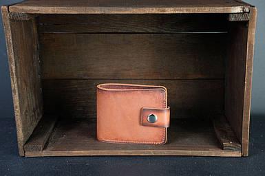 Чоловіче шкіряне портмоне з монетницею з застібкою, натуральна італійська шкіра Краст, колір Коричневий