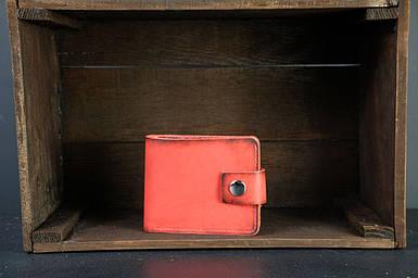 Чоловіче шкіряне портмоне з монетницею з застібкою, натуральна італійська шкіра Краст, колір Червоний