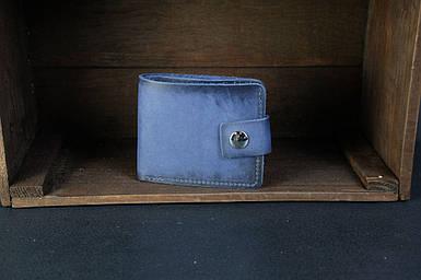 Чоловіче шкіряне портмоне з монетницею з застібкою, натуральна італійська шкіра Краст, колір Синій