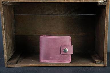 Чоловіче шкіряне портмоне з монетницею з застібкою, натуральна вінтажна шкіра, колір Бордо