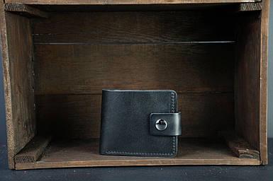 Чоловіче шкіряне портмоне з монетницею з застібкою, натуральна італійська шкіра Краст, колір Чорний