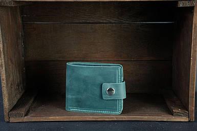 Чоловіче шкіряне портмоне з монетницею з застібкою, натуральна вінтажна шкіра, колір Зелений