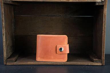 Чоловіче шкіряне портмоне з монетницею з застібкою, натуральна вінтажна шкіра, колір коричневый, оттенок Коньяк