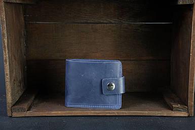 Чоловіче шкіряне портмоне з монетницею з застібкою, натуральна вінтажна шкіра, колір Синій