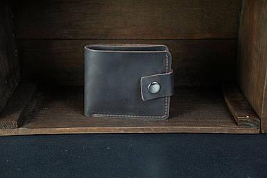 Чоловіче шкіряне портмоне з монетницею з застібкою, натуральна вінтажна шкіра, колір коричневый, оттенок Шоколад