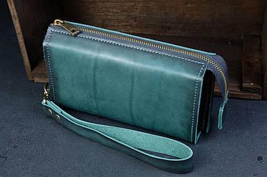 Чоловічий шкіряний гаманець Тревел, з ремінцем, натуральна італійська шкіра Краст, колір Зелений