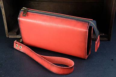Чоловічий шкіряний гаманець Тревел, з ремінцем, натуральна італійська шкіра Краст, колір Червоний