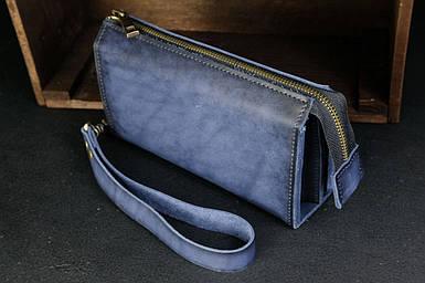 Чоловічий шкіряний гаманець Тревел, з ремінцем, натуральна італійська шкіра Краст, колір Синій