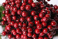"Глянцевые ягоды (калина) 400 шт/уп. 1 см диаметр, цвета ""марсала"" оптом НГ, фото 1"