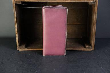 Мужской кожаный кошелек Лонг на 8 карт, натуральная кожа итальянский Краст, цвет Бордо
