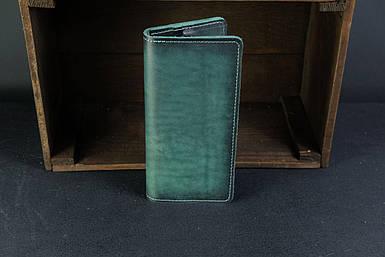 Мужской кожаный кошелек Лонг на 8 карт, натуральная кожа итальянский Краст, цвет Зеленый