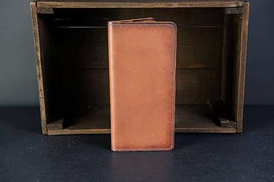 Мужской кожаный кошелек Лонг на 8 карт, натуральная кожа итальянский Краст, цвет Коричневый