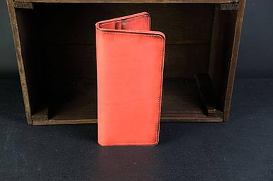 Мужской кожаный кошелек Лонг на 8 карт, натуральная кожа итальянский Краст, цвет Красный