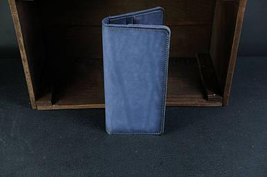 Мужской кожаный кошелек Лонг на 8 карт, натуральная кожа итальянский Краст, цвет Синий