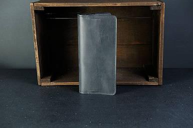 Мужской кожаный кошелек Лонг на 8 карт, натуральная кожа итальянский Краст, цвет Черный