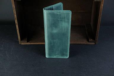 Мужской кожаный кошелек Лонг на 8 карт, натуральная винтажная кожа, цвет Зеленый