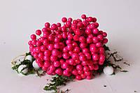 Глянцеві ягоди (калина) 400 шт/уп. 1 см діаметр, яскраво-рожевого кольору оптом