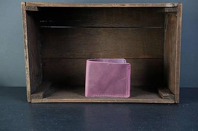 Мужской кожаный кошелек Компакт, натуральная винтажная кожа, цвет Бордо