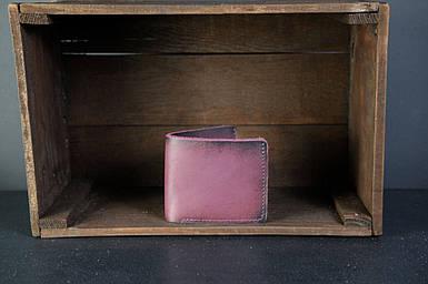 Мужской кожаный кошелек Компакт, натуральная кожа итальянский Краст, цвет Бордо