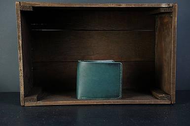 Мужской кожаный кошелек Компакт, натуральная кожа итальянский Краст, цвет Зеленый