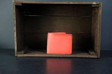 Мужской кожаный кошелек Компакт, натуральная кожа итальянский Краст, цвет Красный