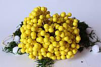 Глянцевые ягоды (калина) 400 шт/уп. 1 см диаметр, желтого цвета оптом