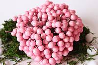 Глянцеві ягоди (калина) 400 шт/уп. 1 см діаметр, ніжно-рожевого кольору оптом