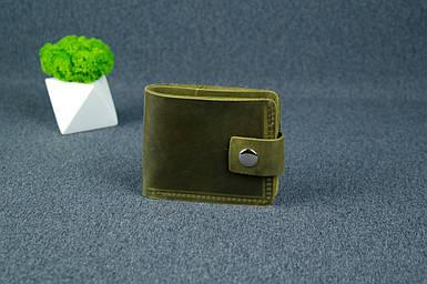 Чоловіче шкіряне портмоне з монетницею з застібкою, натуральна вінтажна шкіра, колір Оливка