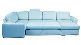 Угловой диван Филадельфия, в ткани, не раскладной, голубой
