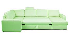 Угловой диван Филадельфия, в экокоже, дельфин, зелёный