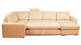 Угловой диван Филадельфия, в экокоже, не раскладной, коричневый